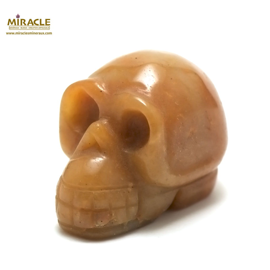 statuette minéraux  crane skull en pierre naturelle d\'aventurine orange