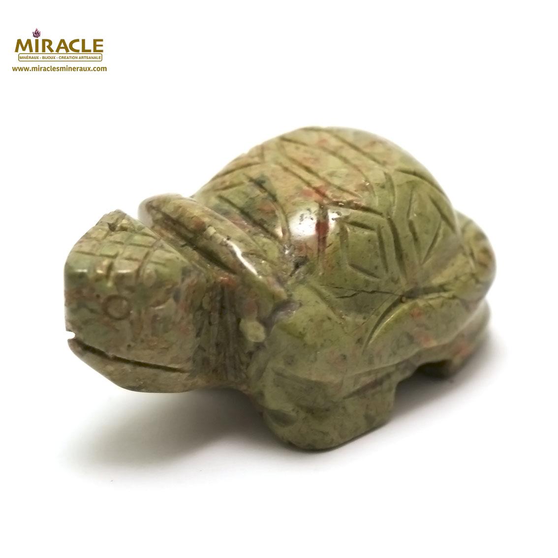 statuette minéraux tortue , pierre naturelle d\'unakite