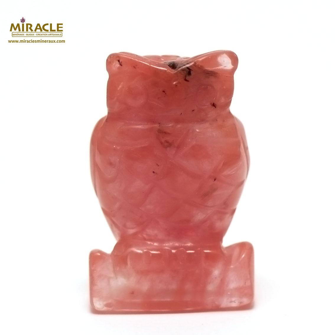 statuette minéraux chouette, pierre naturelle de quartz strawberry