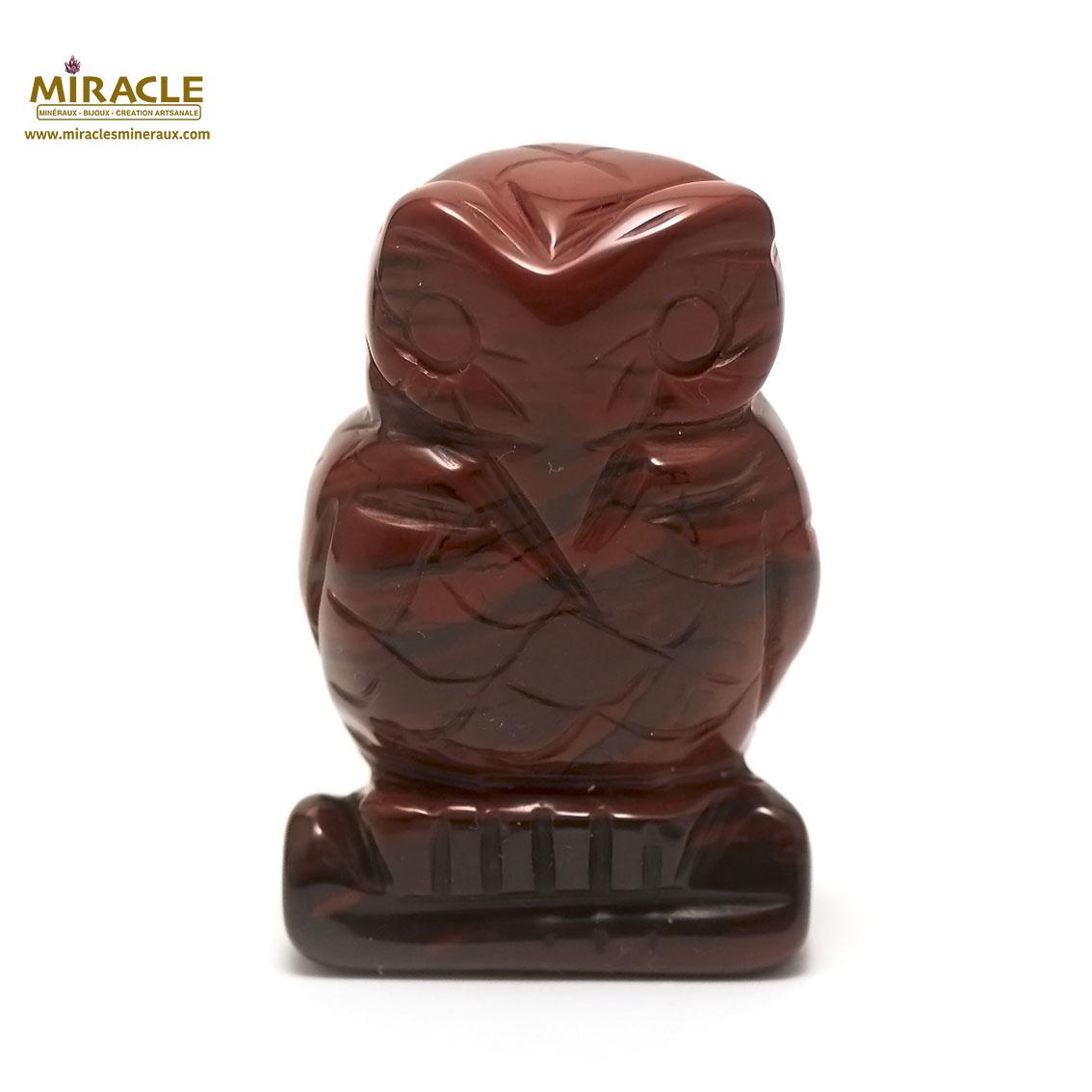 statuette minéraux chouette, pierre naturelle de jaspe mokaïte