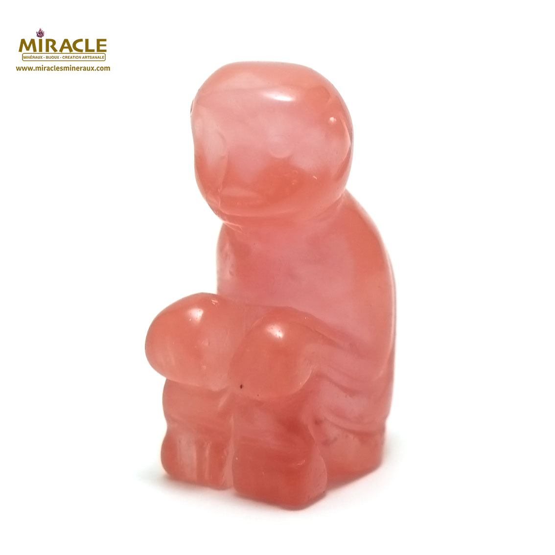 statuette minéraux singeen pierre naturelle de quartz strawberry