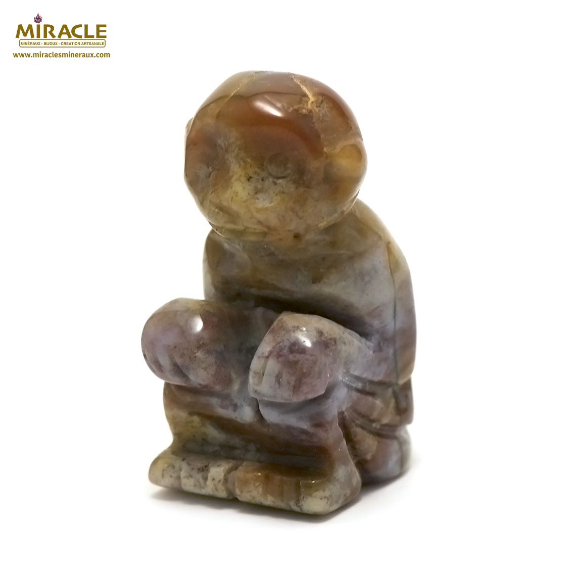 statuette minéraux singe en pierre naturelle d\'agate