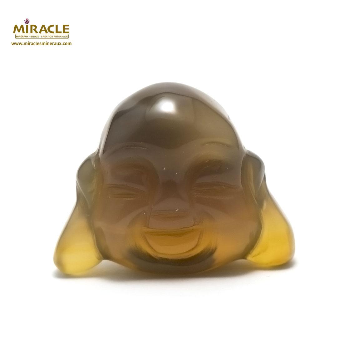 statuette minéraux tête de bouddha, pierre naturelle d\'agate grise