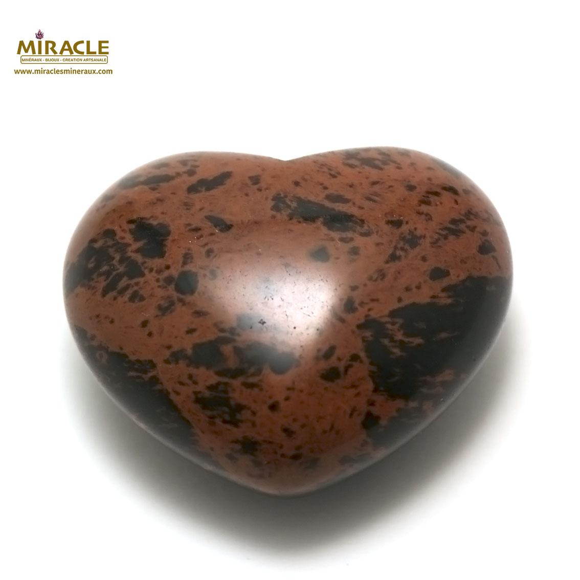 statuette minéraux coeur,pierre naturelle de jaspe mokaïte