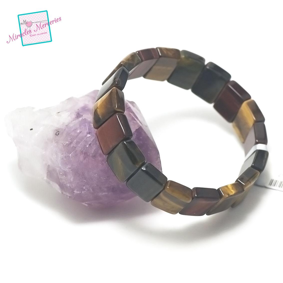 bracelet trois oeil(oeil de tigre/oeil de taureau/oeil de faucon), plaquette rectangle
