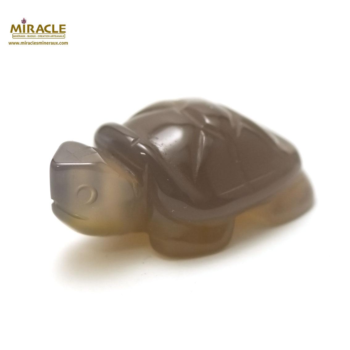 statuette minéraux tortue en pierre naturelle d\'agate gris