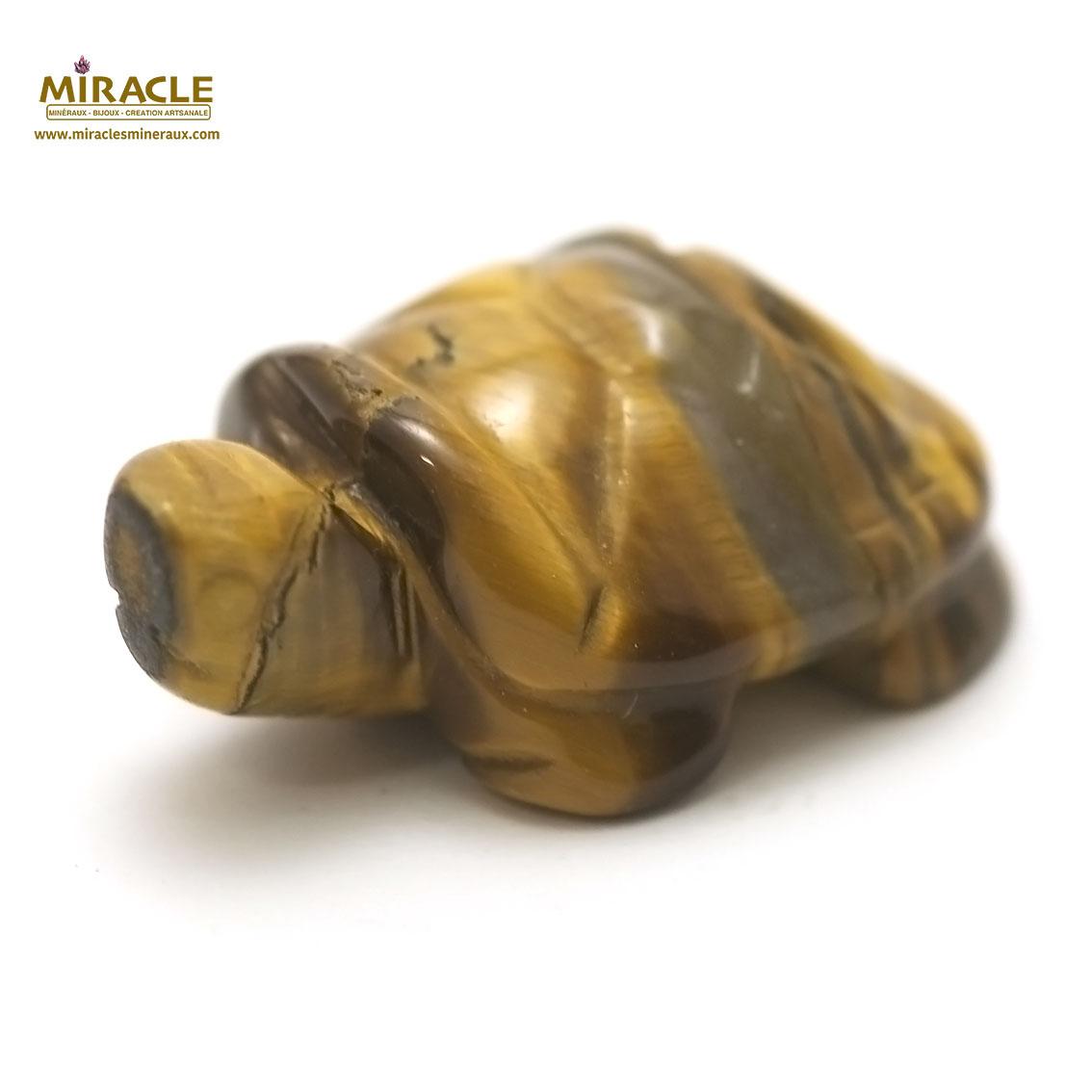 statuette minéraux tortue en pierre naturelle de oeil du tigre