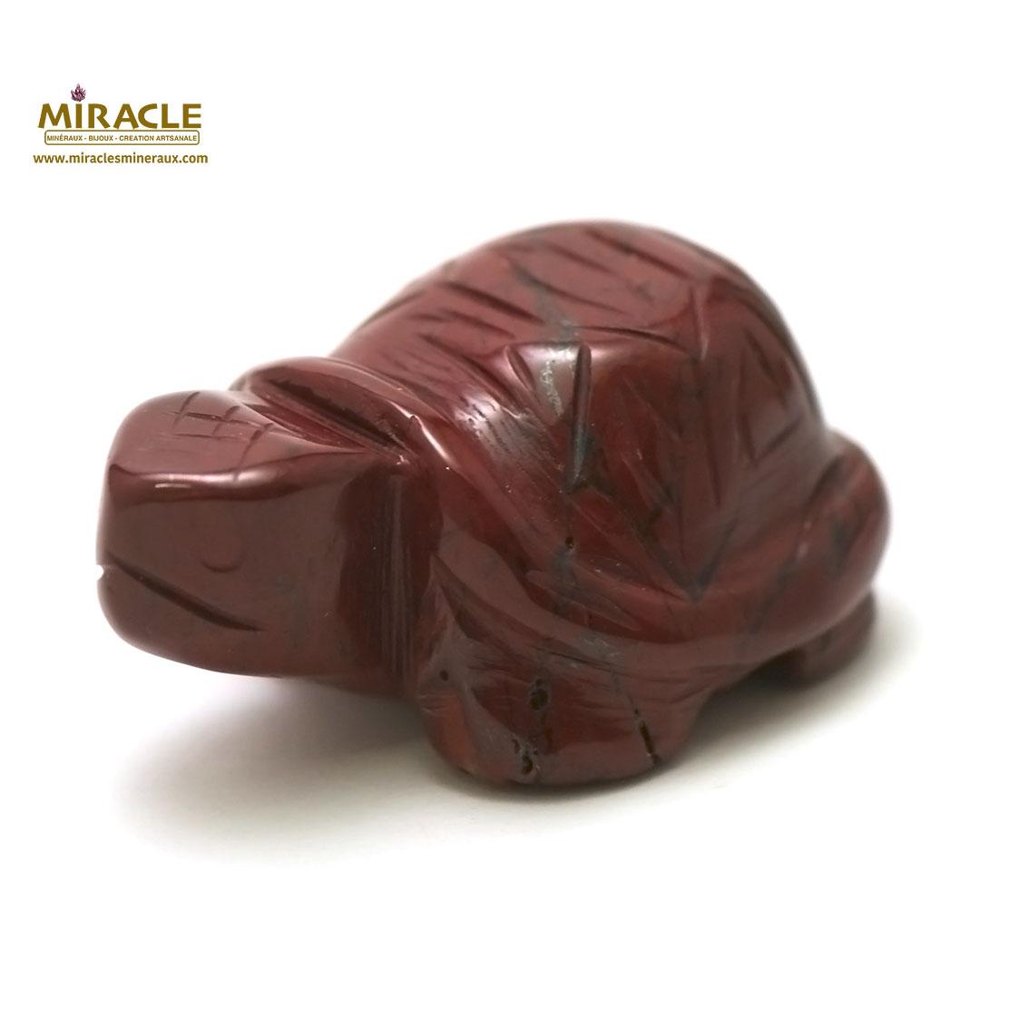 Magnifique statuette tortue en pierre naturelle de jaspe rouge