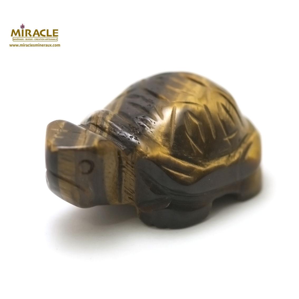 Magnifique statuette tortue en pierre naturelle de l\'oeil du tigre