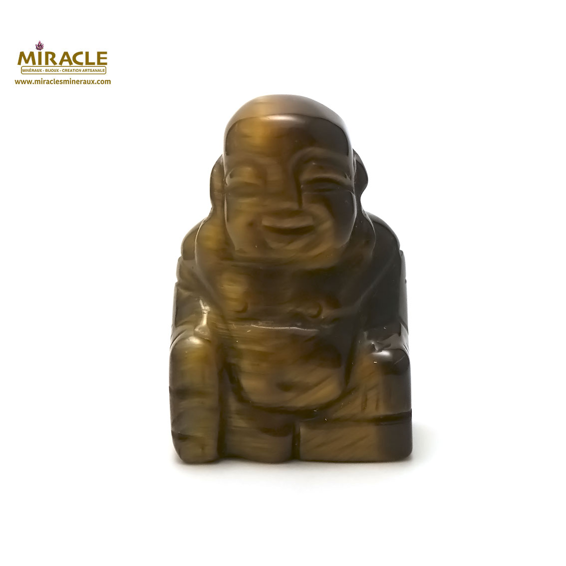 statuette minéraux bouddha, pierre naturelle de l\'oeil du tigre