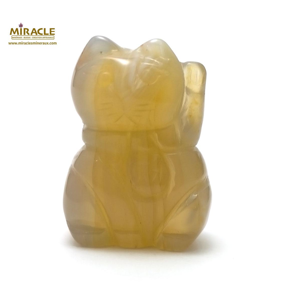 Magnifique statuette chat de fortune en pierre naturelle d\'agate