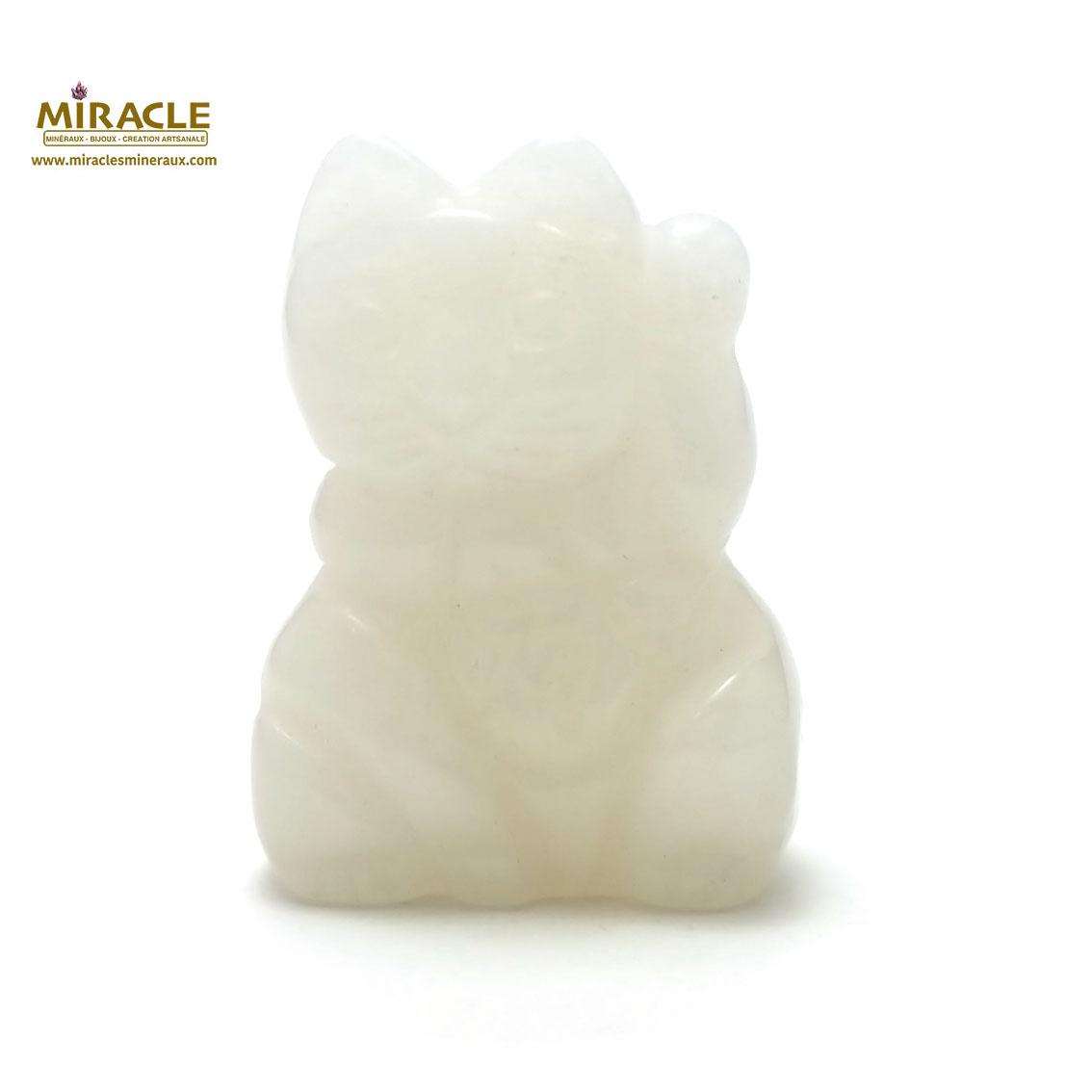 Magnifique statuette chat de fortune en pierre naturelle de jade blanc