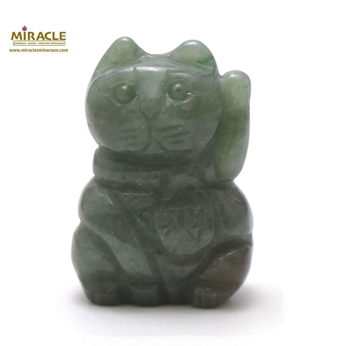 Magnifique statuette chat de fortune en pierre naturelle d\'aventurine