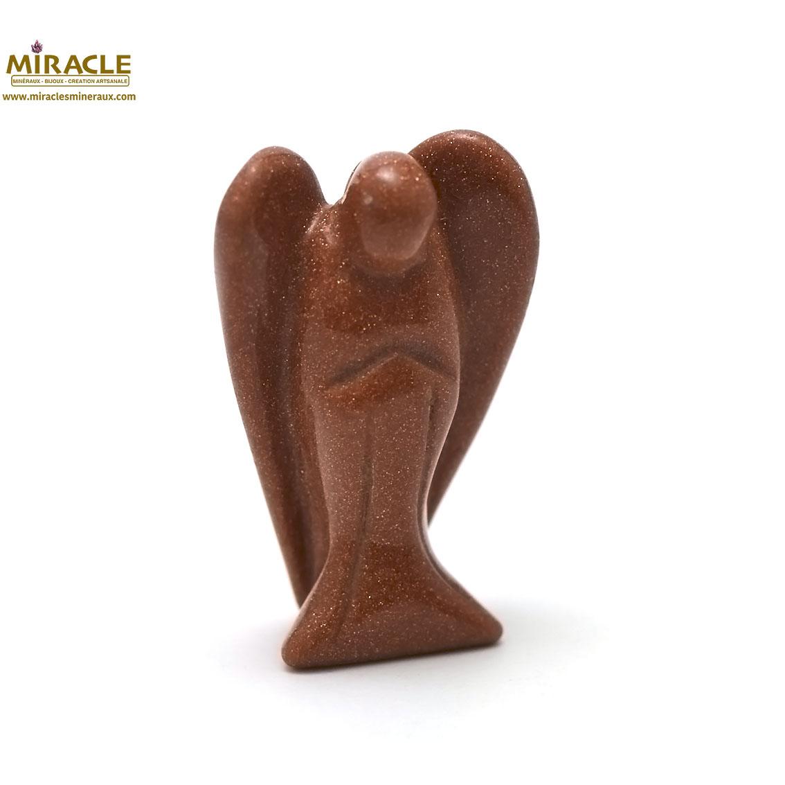 Magnifique statuette ange  en pierre naturelle de pierre de soleil