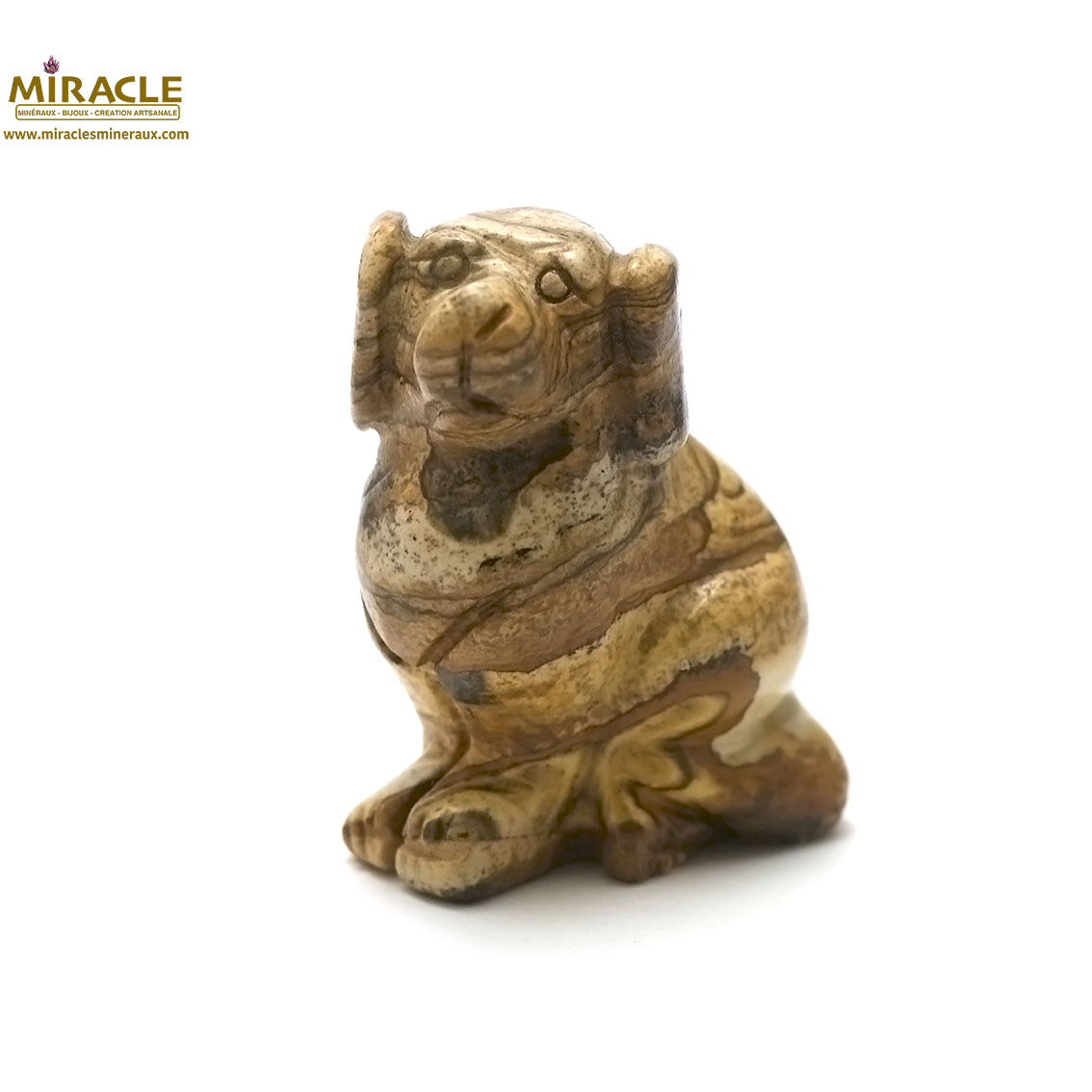 Magnifique statuette chien  en pierre naturelle de jaspe paysage