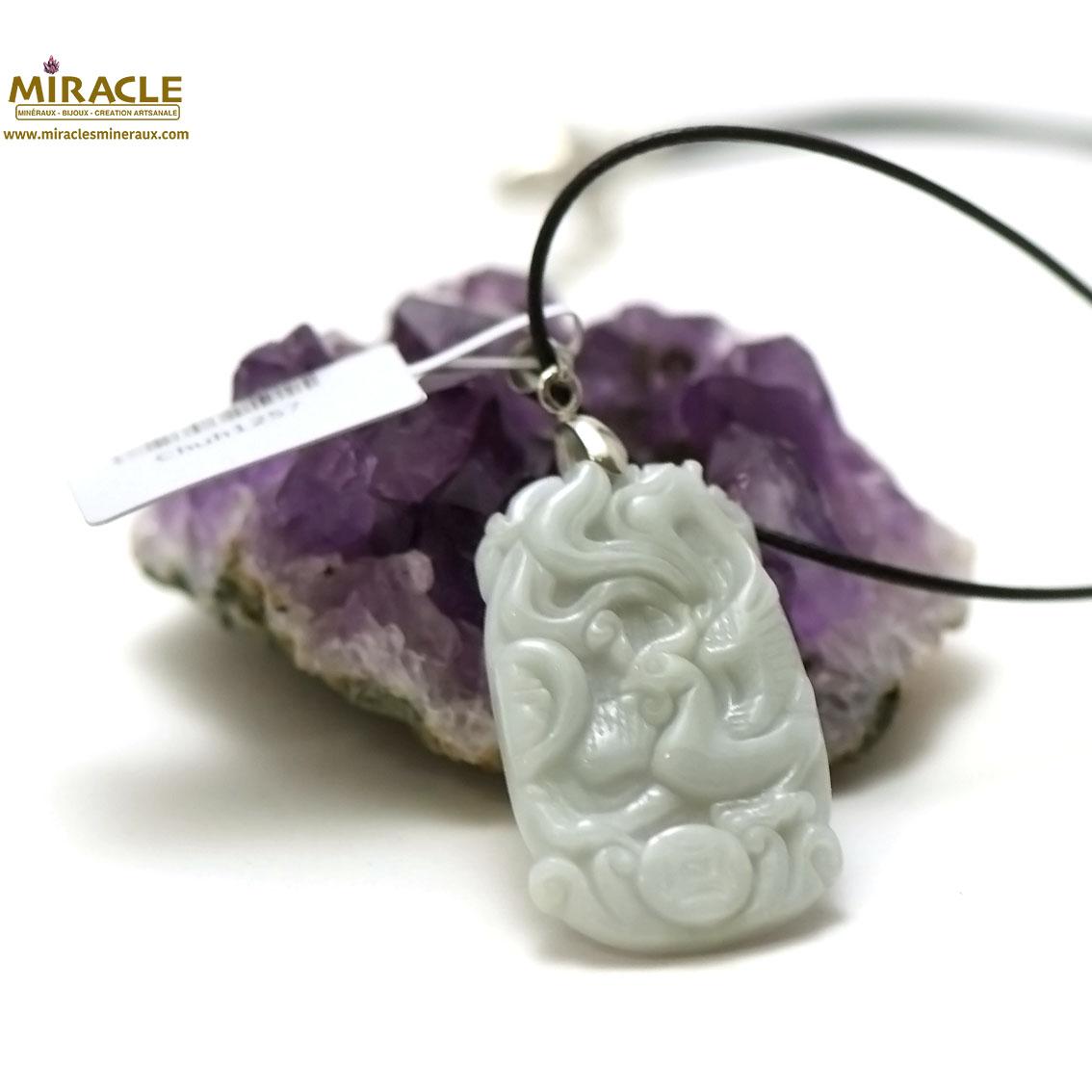 Pendentif en jade véritable plaquette phoenix 38x22x5 mm, pierre naturelle