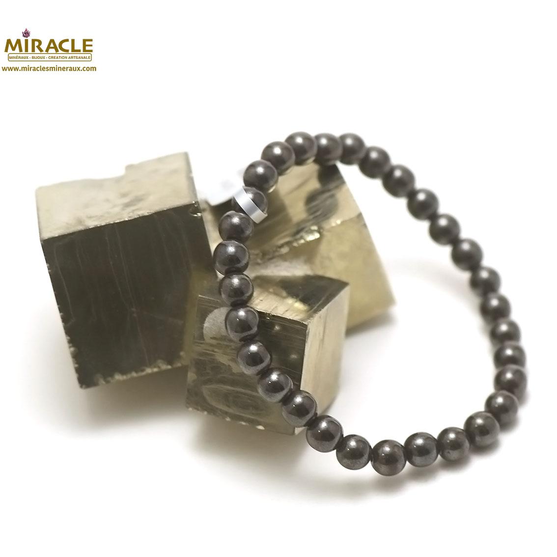 Bracelet hématite  perle ronde 6 mm