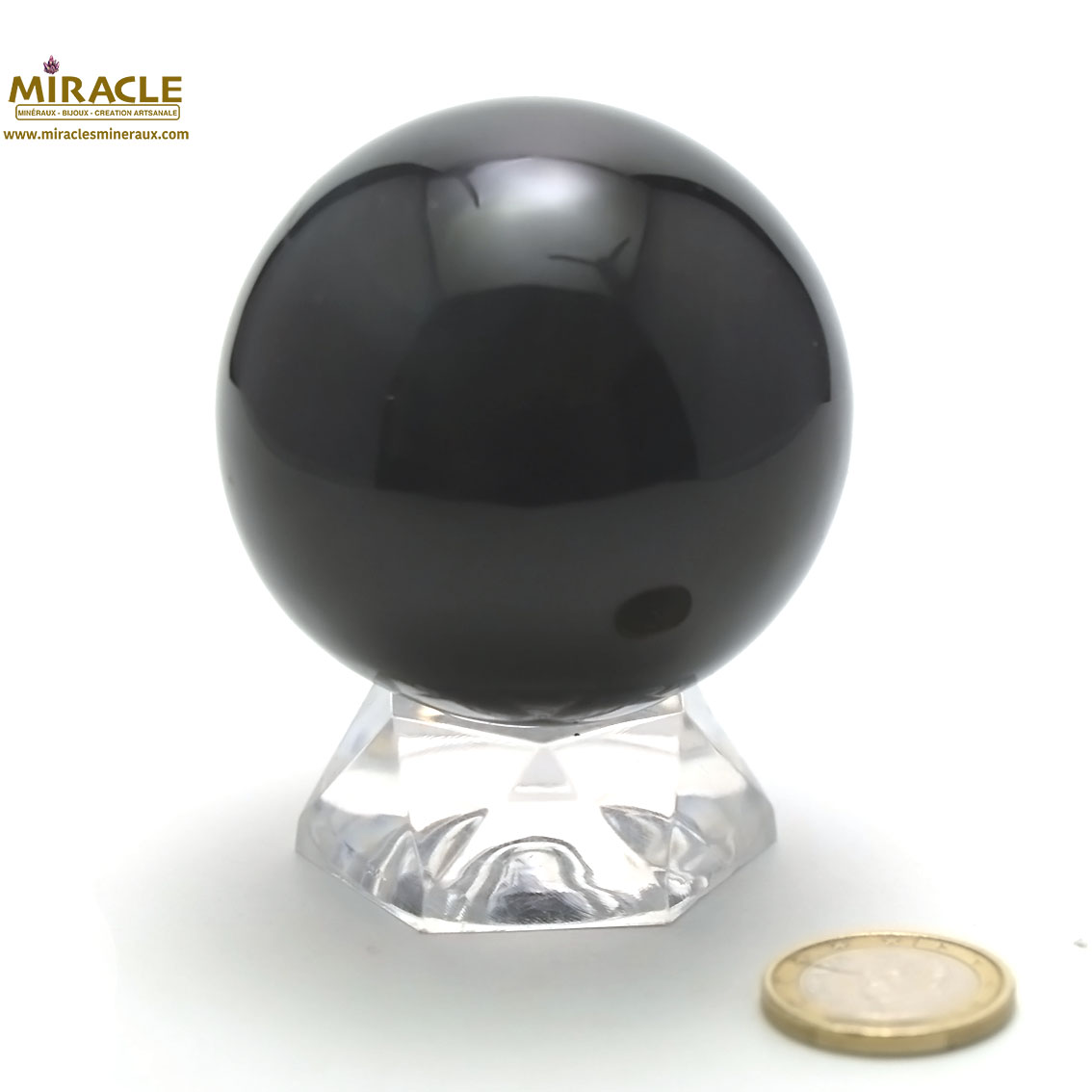 Magnifique sphère minéraux en obsidienne oeil céleste 6,7 cm