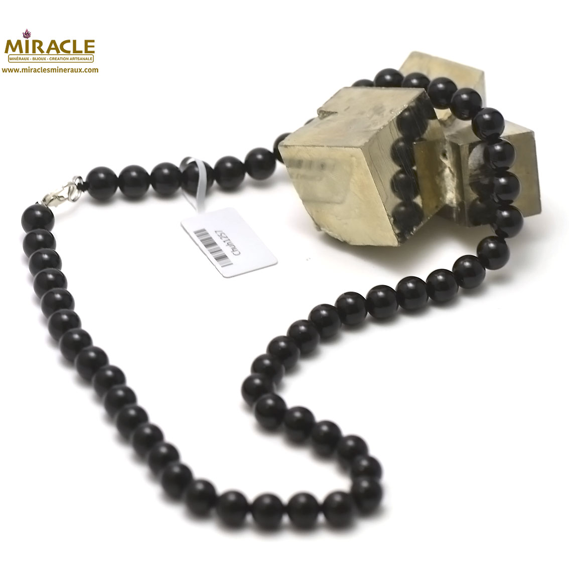 Collier Onyx , perle ronde 8 mm