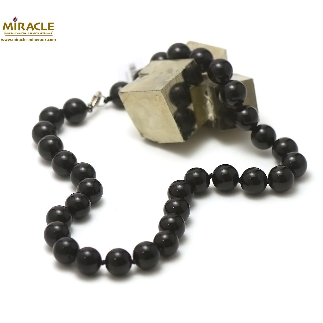 Collier onyx, perle ronde 12 mm