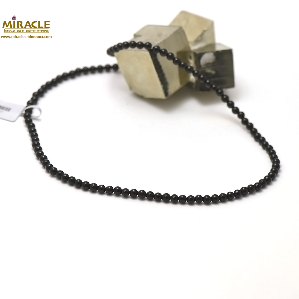 Collier onyx ronde 4 mm