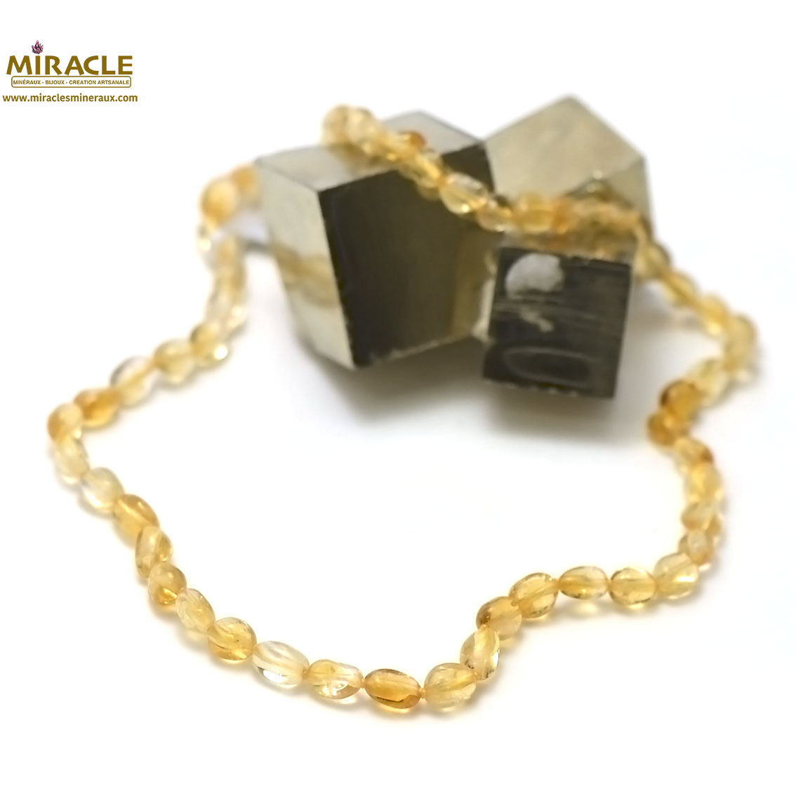 Collier Citrine mini galet