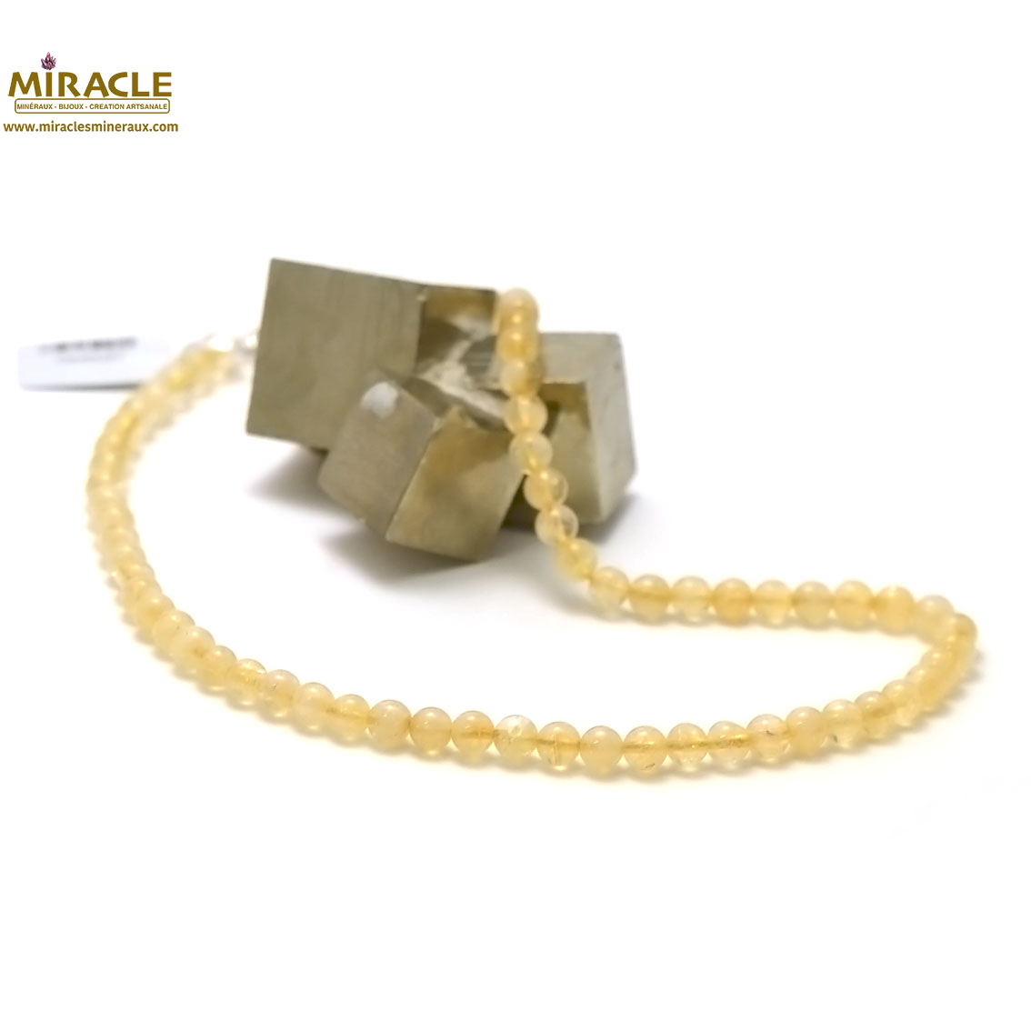 collier citrine  ronde 6 mm