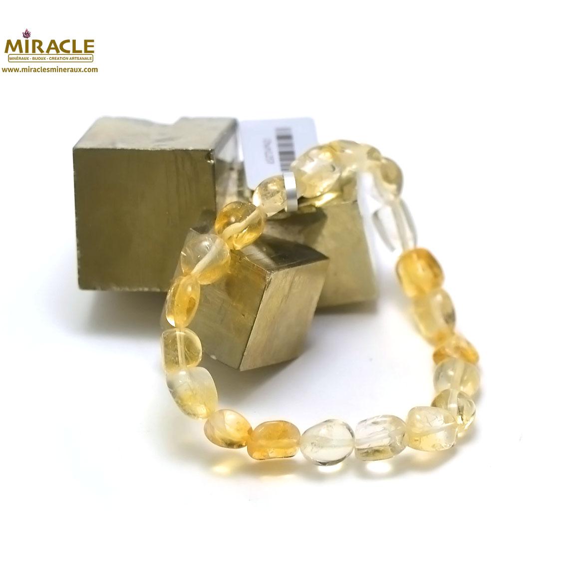 bracelet citrine galet baroque