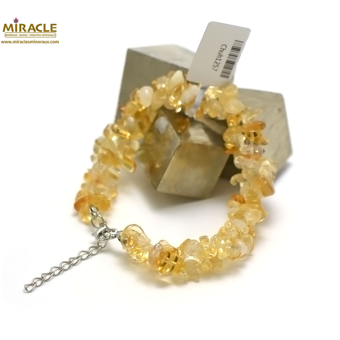 bracelet citrine double rangs chips