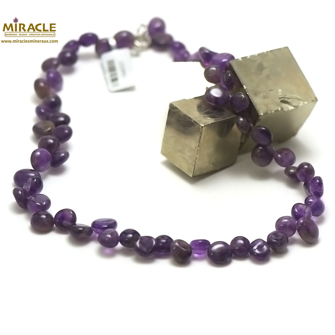 Collier améthyste ,perle grand chips