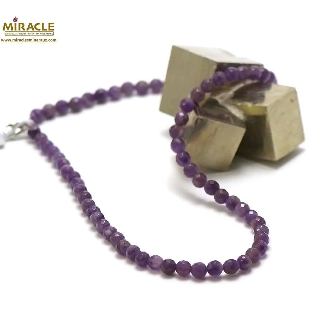 Collier améthyste perle ronde facettée 8 mm ,pierre naturelle
