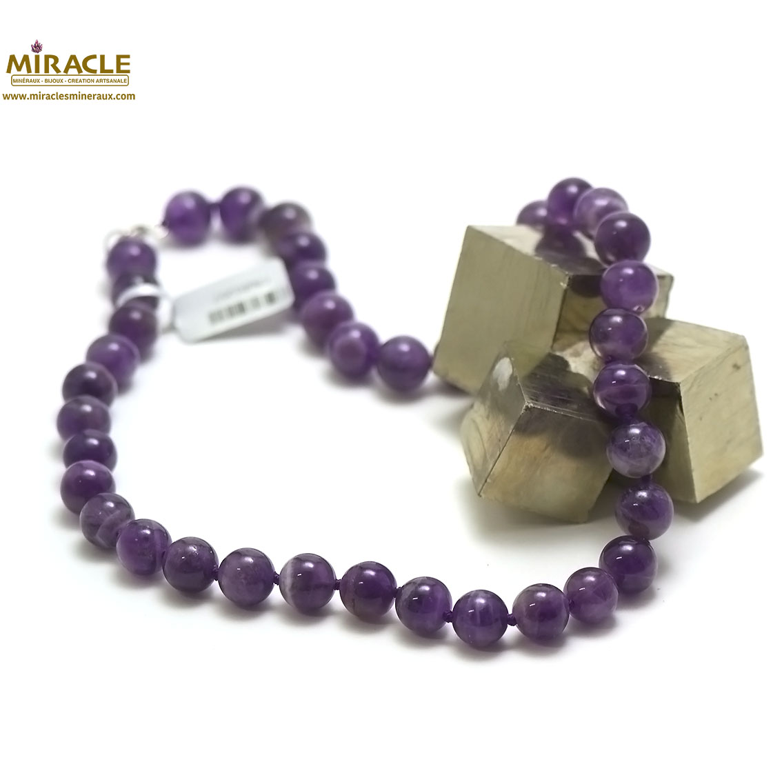 Collier améthyste perles rondes 10 mm