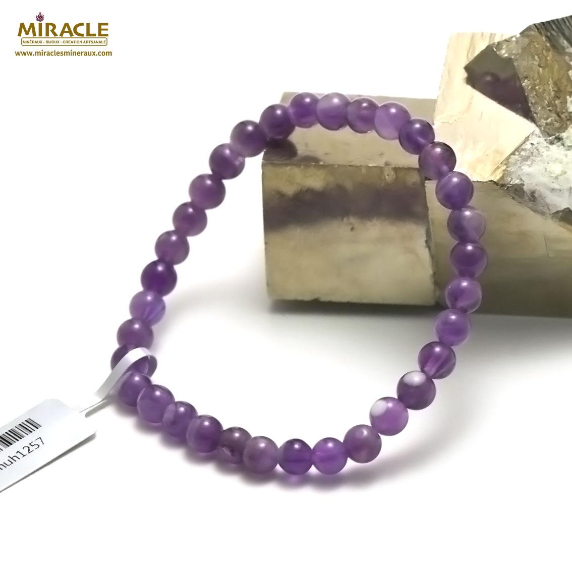 bracelet améthyste  ronde 6 mm