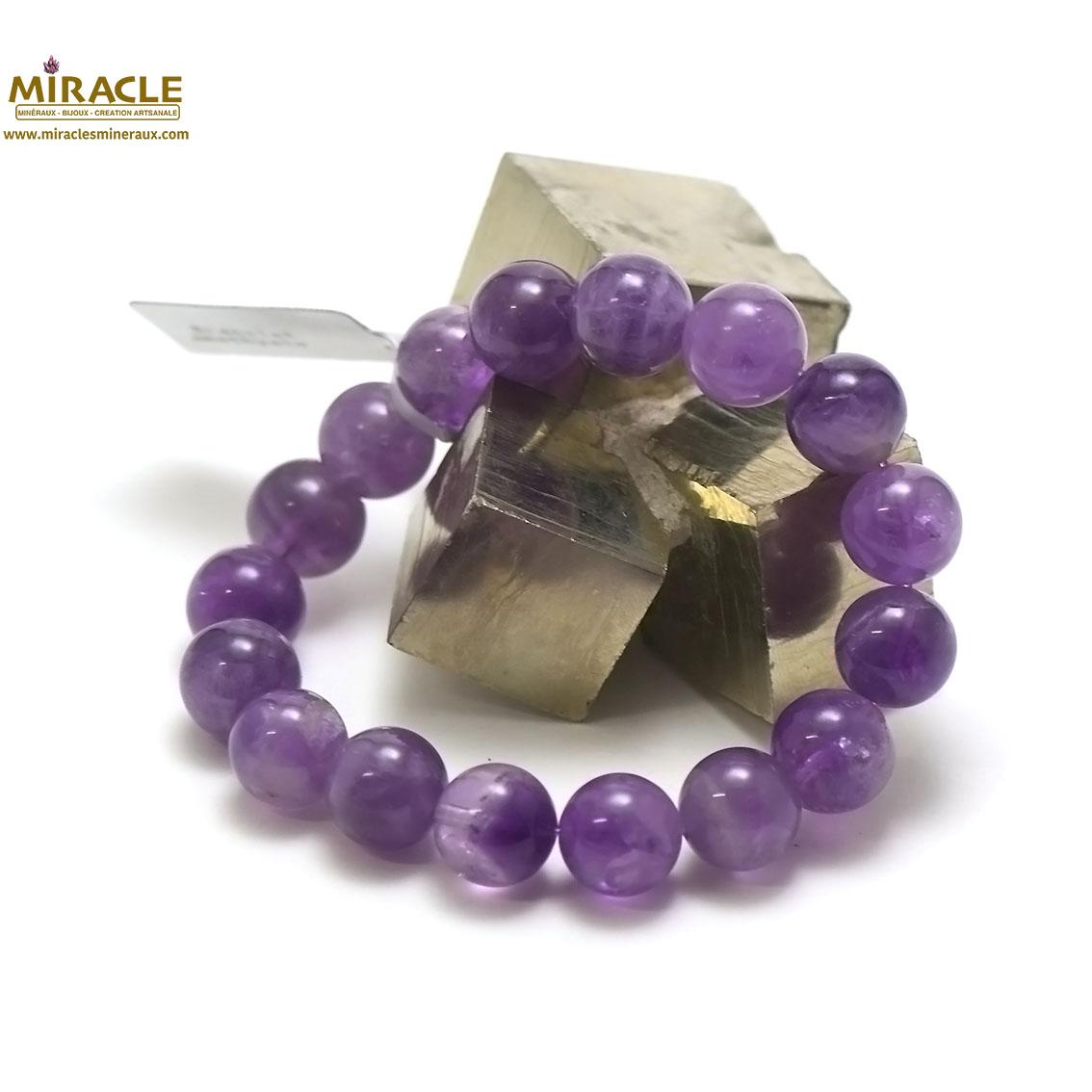 Bracelet améthyste ,perle ronde 12 mm