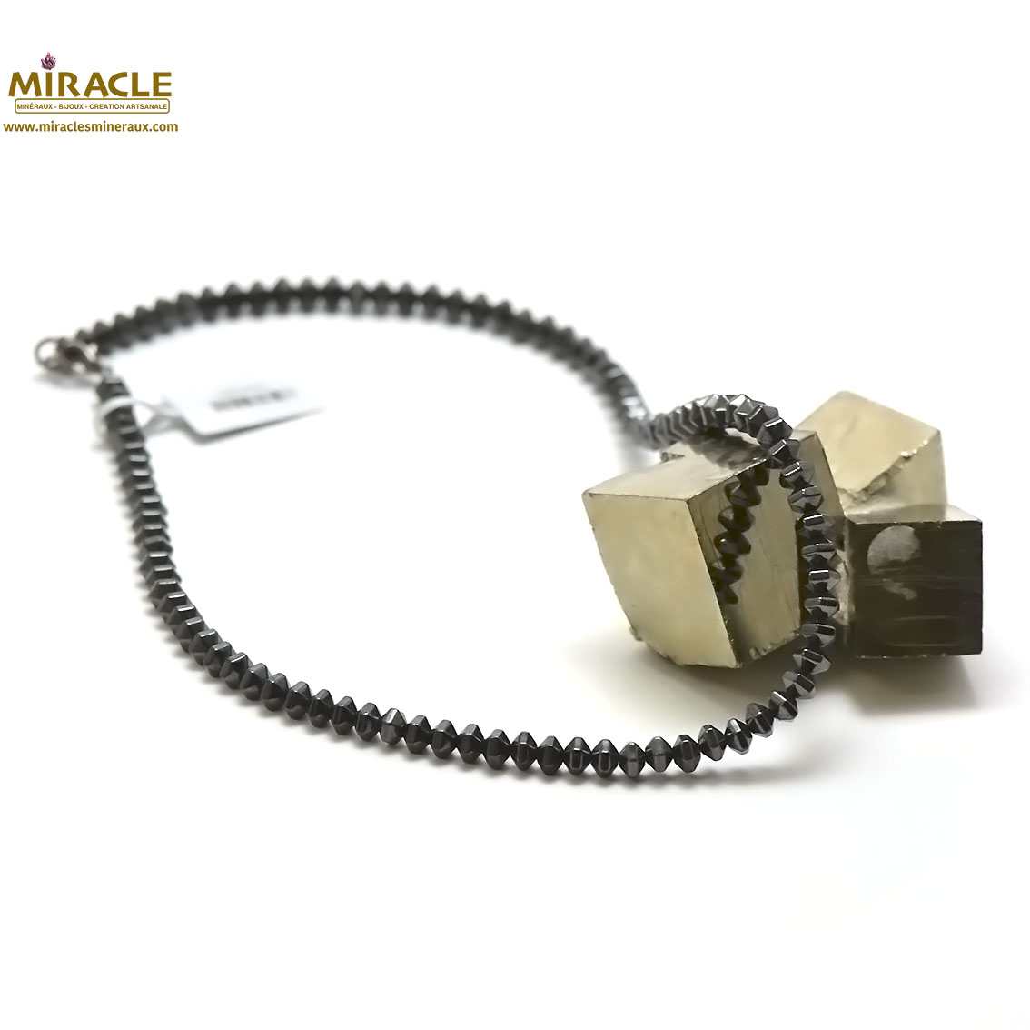 collier hématite, perle rondelle hexagonale