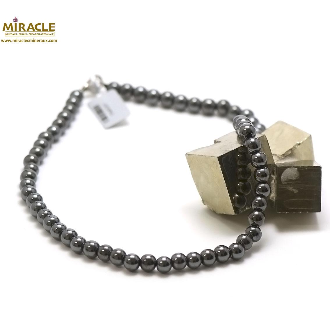 collier hématite ,  perle ronde 8 mm