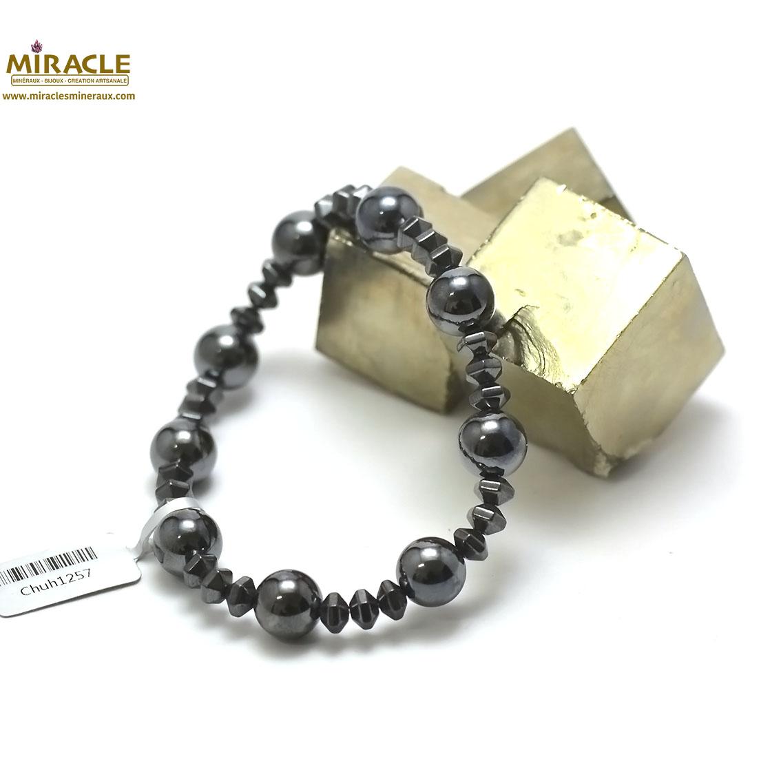 bracelet hématite, ronde 10 mm-rondelle hexagonale
