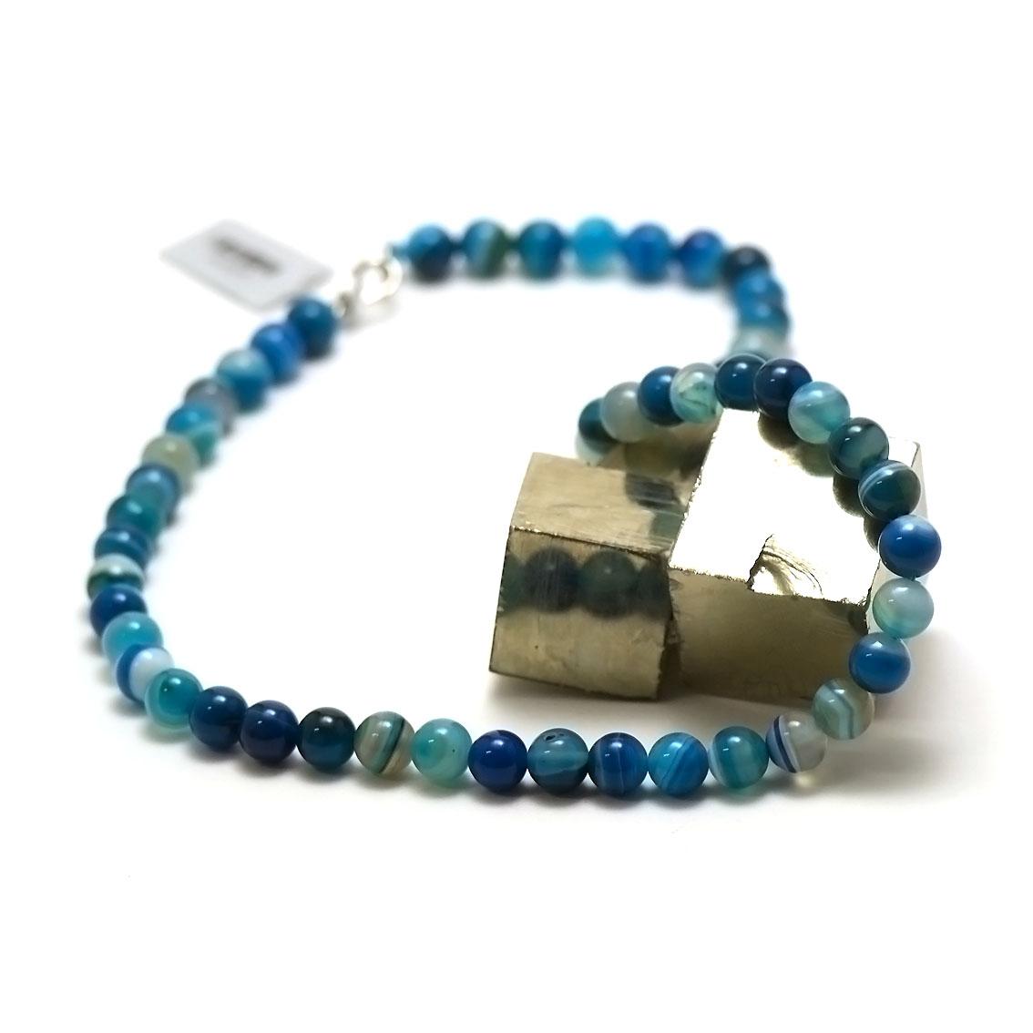 bleu ronde 8 mm 1 collier en pierre naturelle d'agate