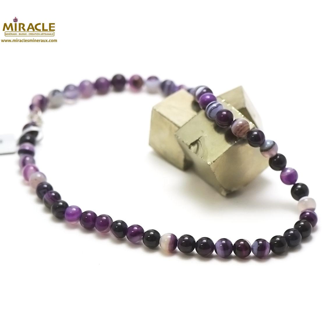 collier agate teinté mauve , perle ronde 8 mm