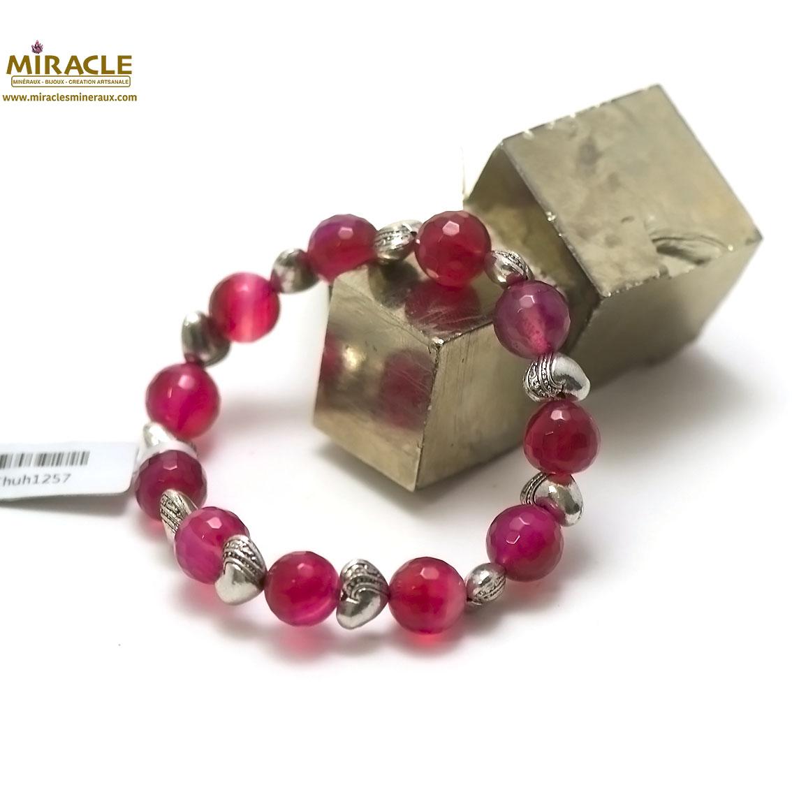 Bracelet agate fuschia ronde 10 mm -perle argenté