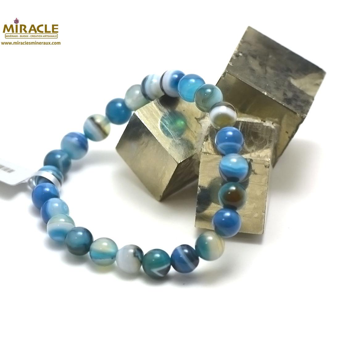 Bracelet agate teinté bleu , perle ronde 8 mm