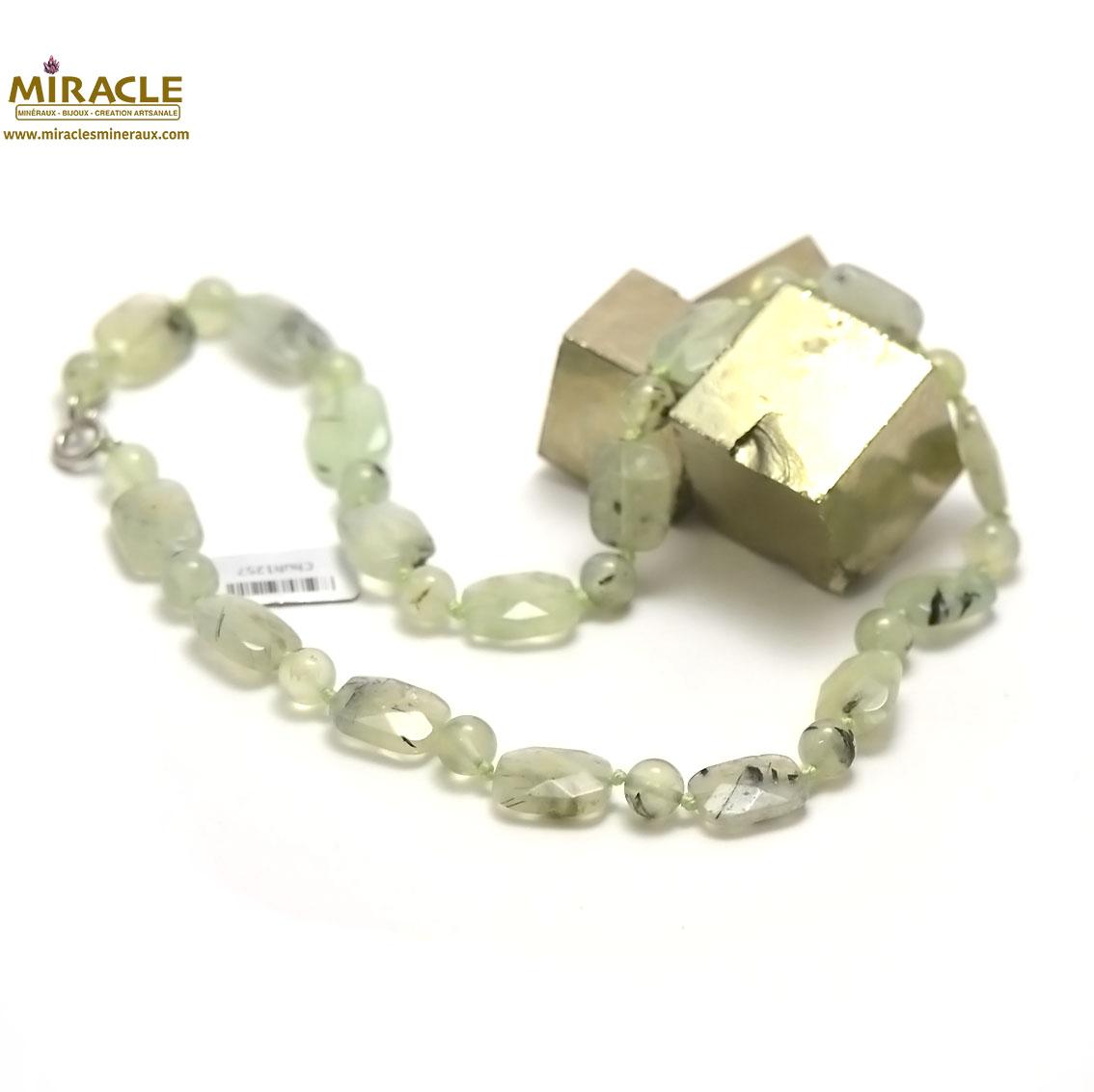 Collier préhnite, perle palet rectangle facettée-perle ronde 8 mm