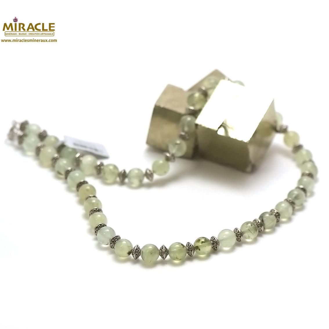Collier préhnite, perle ronde 8 mm/perle argenté
