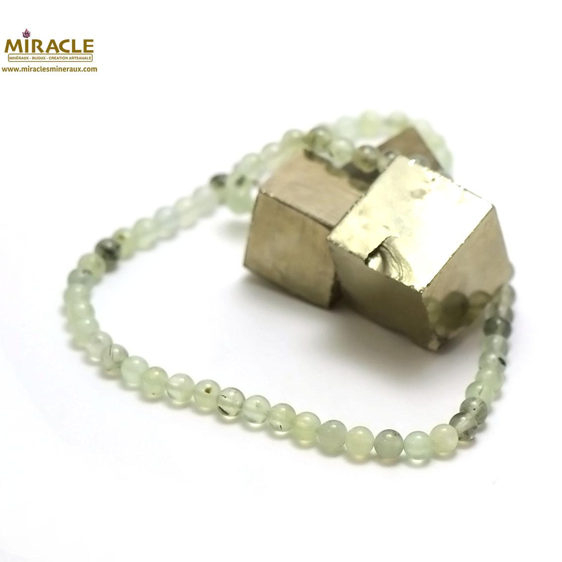 Collier préhnite, perle ronde 6 mm
