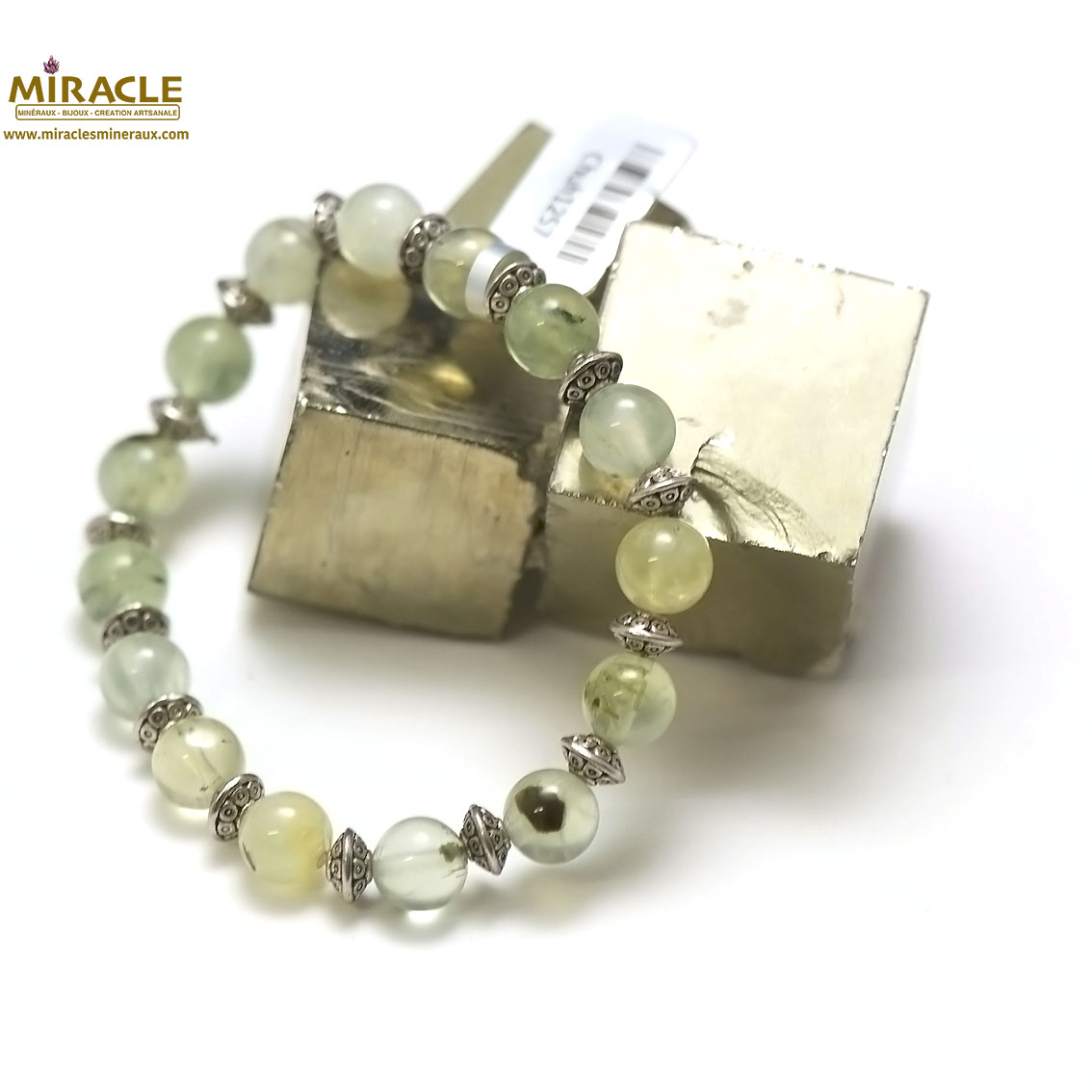Bracelet préhnite, perleronde 8 mm-perle argent