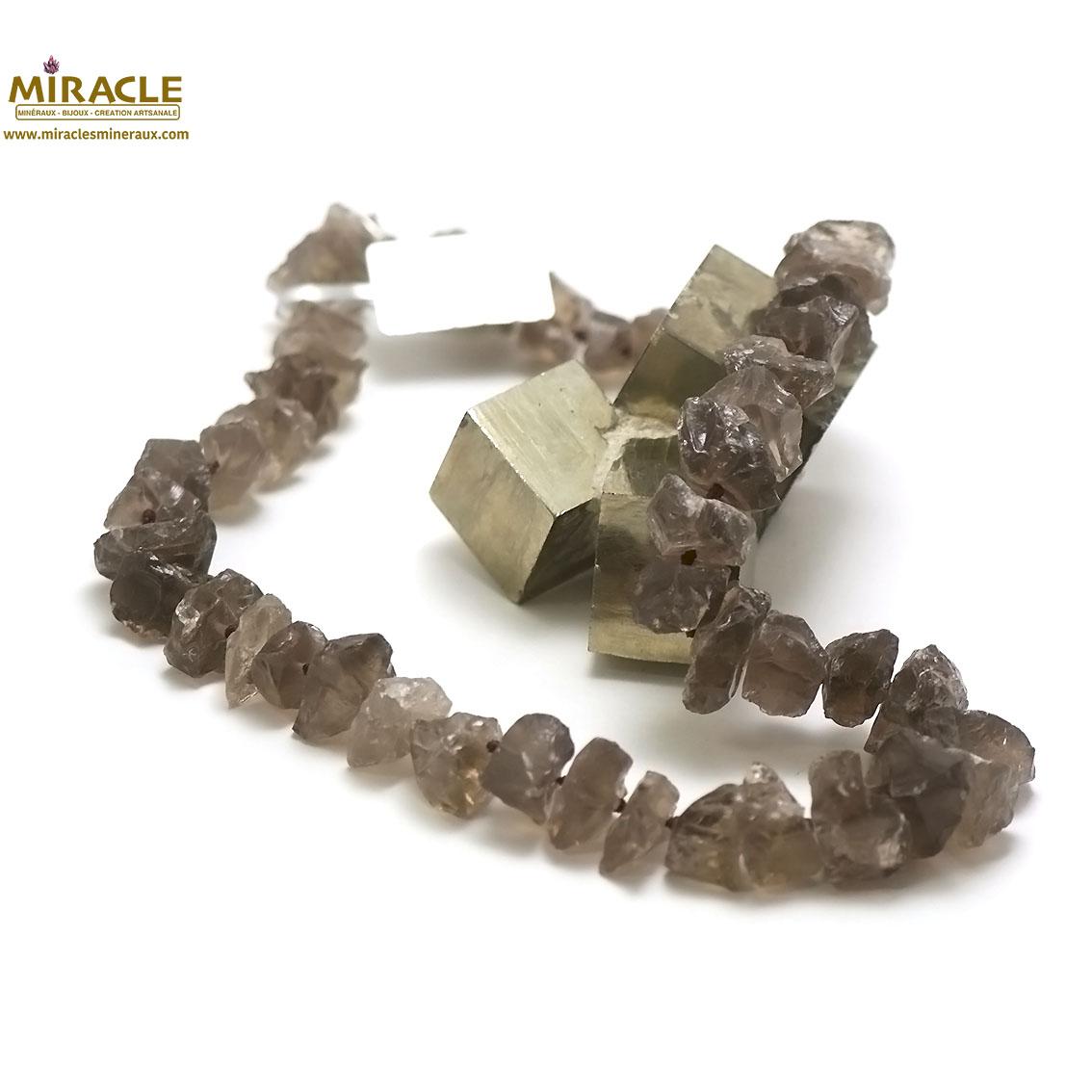 collier quartz fumé, perle galet rondelle brut