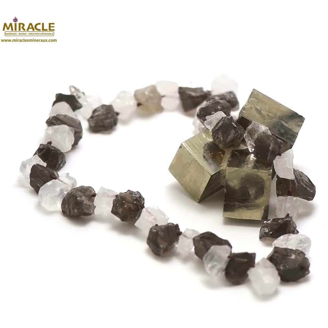 collier quartz fumé/cristal de roche ,perle galet rondelle brut