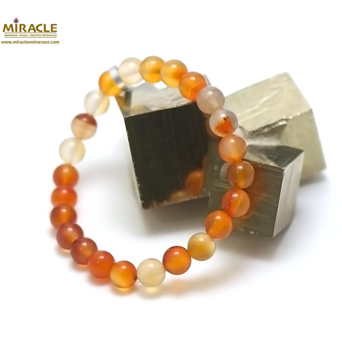 bracelet cornaline, perleronde 8 mm
