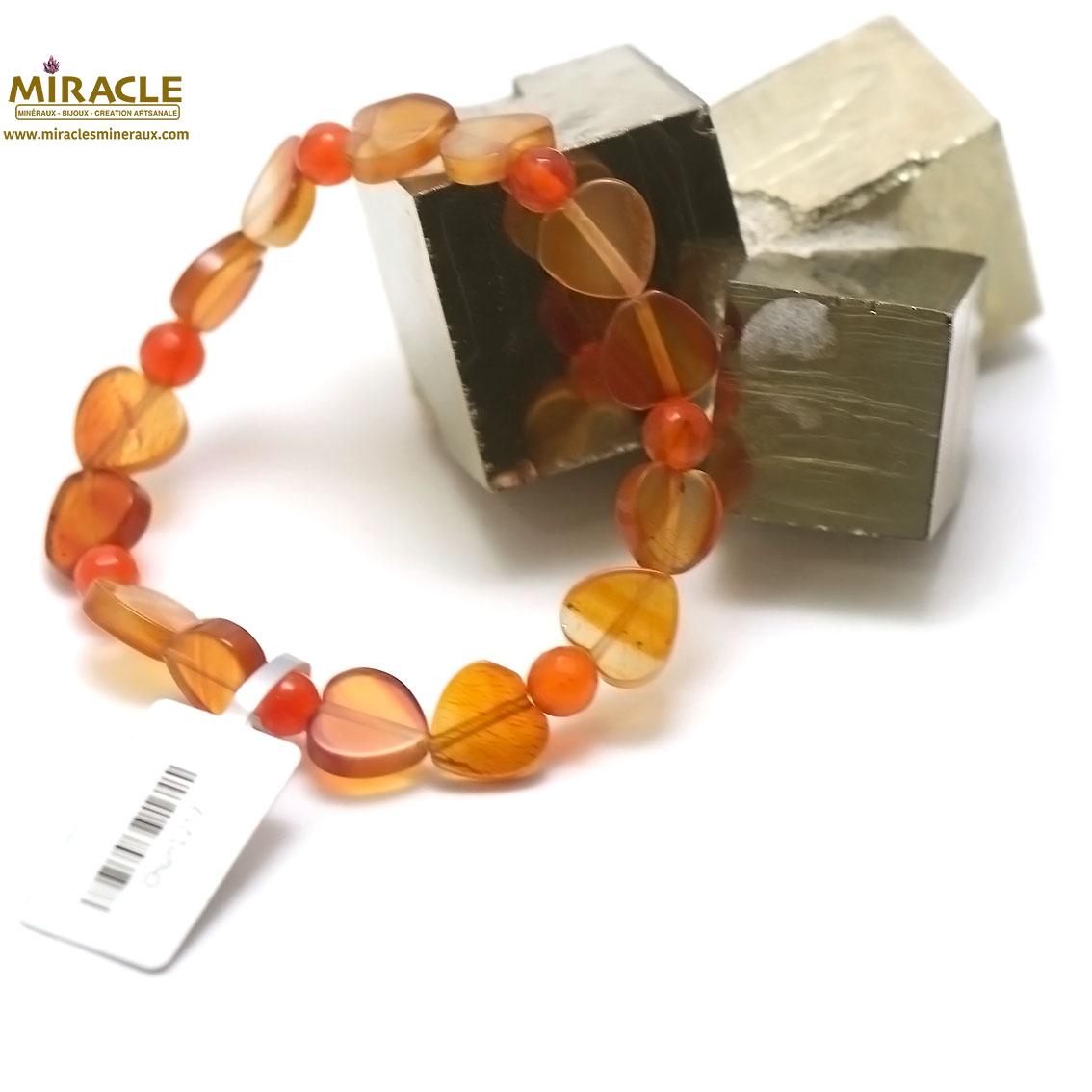 bracelet cornaline, perle coeur/rond facettée 6 mm