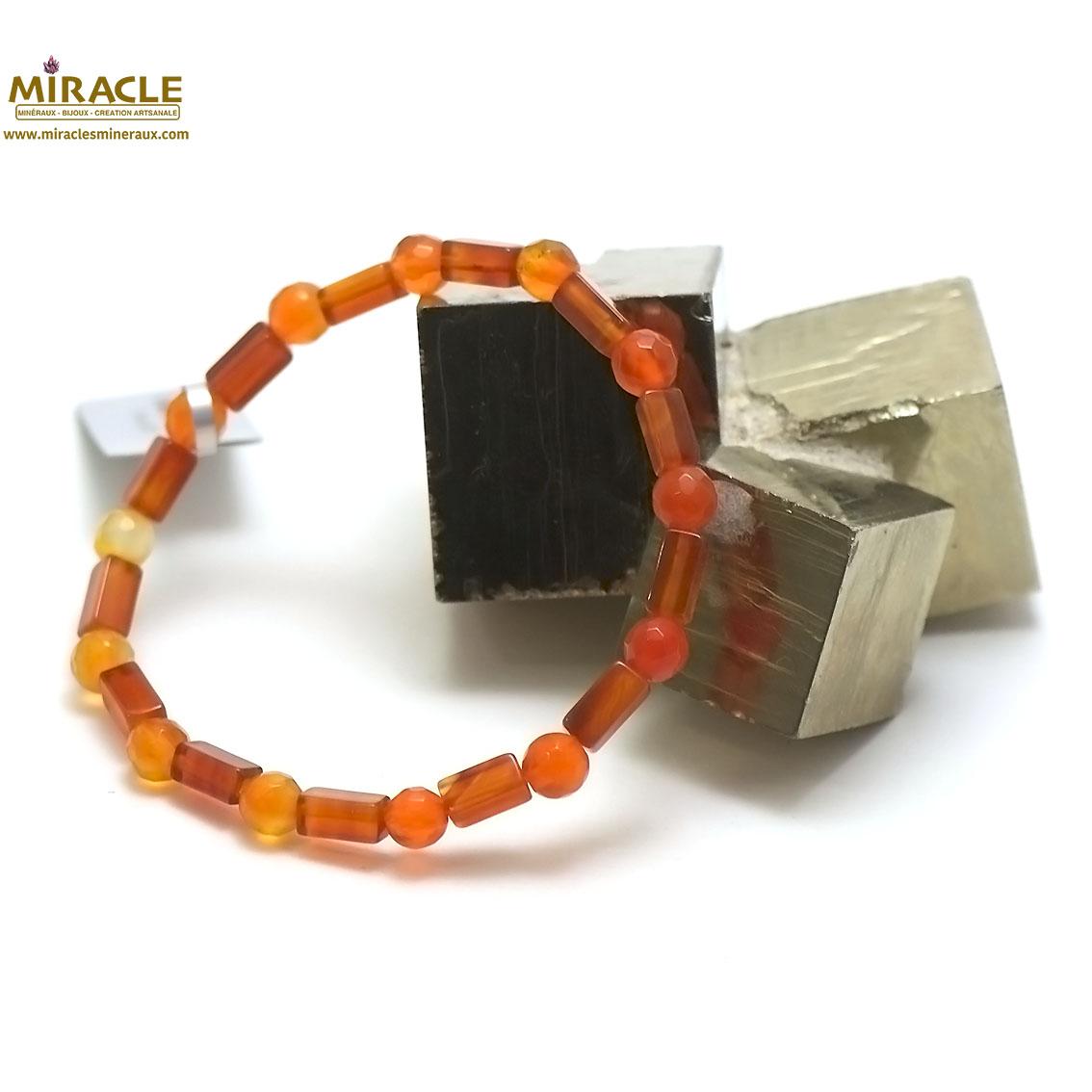 bracelet cornaline, perle tube rectangle/rond facettée 6 mm